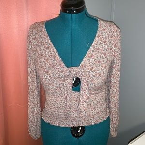 American Eagle Ribbed Floral Blouse